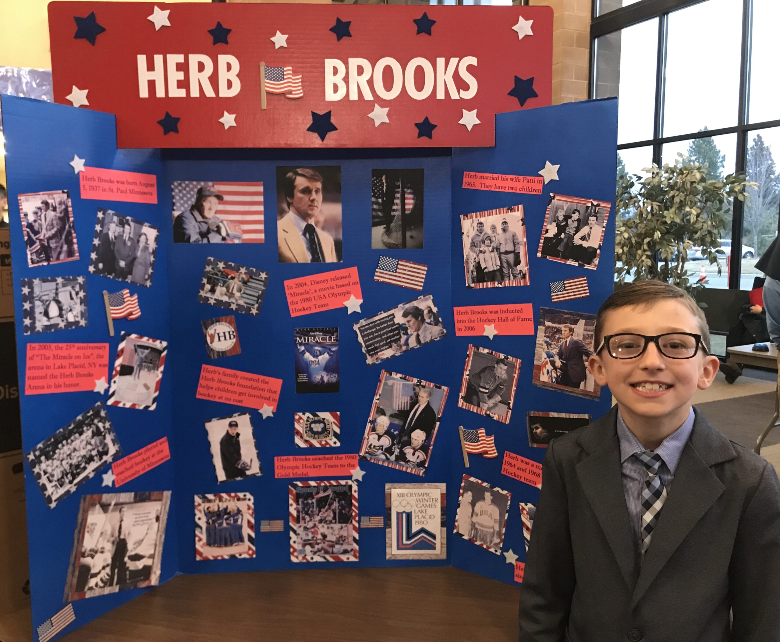 """Matthew, a student from Palisades Christian Academy in Spokane, Washington, chose Herb Brooks for his """"American Hero"""" school project. Matthew presented at the """"American Wax Museum Open House"""" where people would press a button, and he would """"come to life"""" as Herb Brooks relaying facts."""