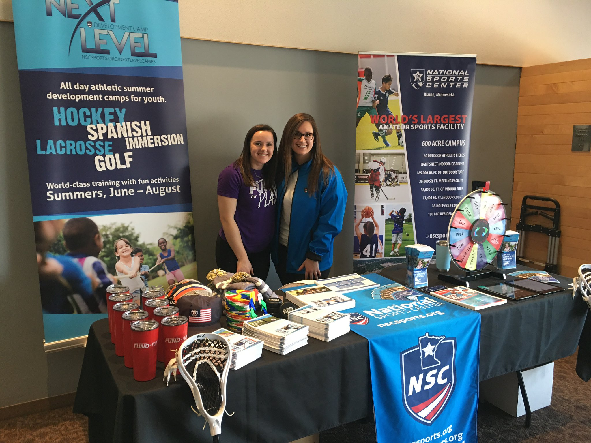 NSC Sports and Recreation Coordinators Logan and Kelly attended the Minnesota Parent's Camp Fair at Como Zoo to promote Next Level Development Camps.