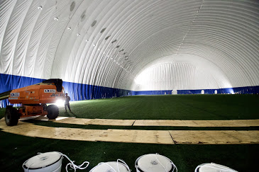 Construction continued inside the M Health Fairview Dome.