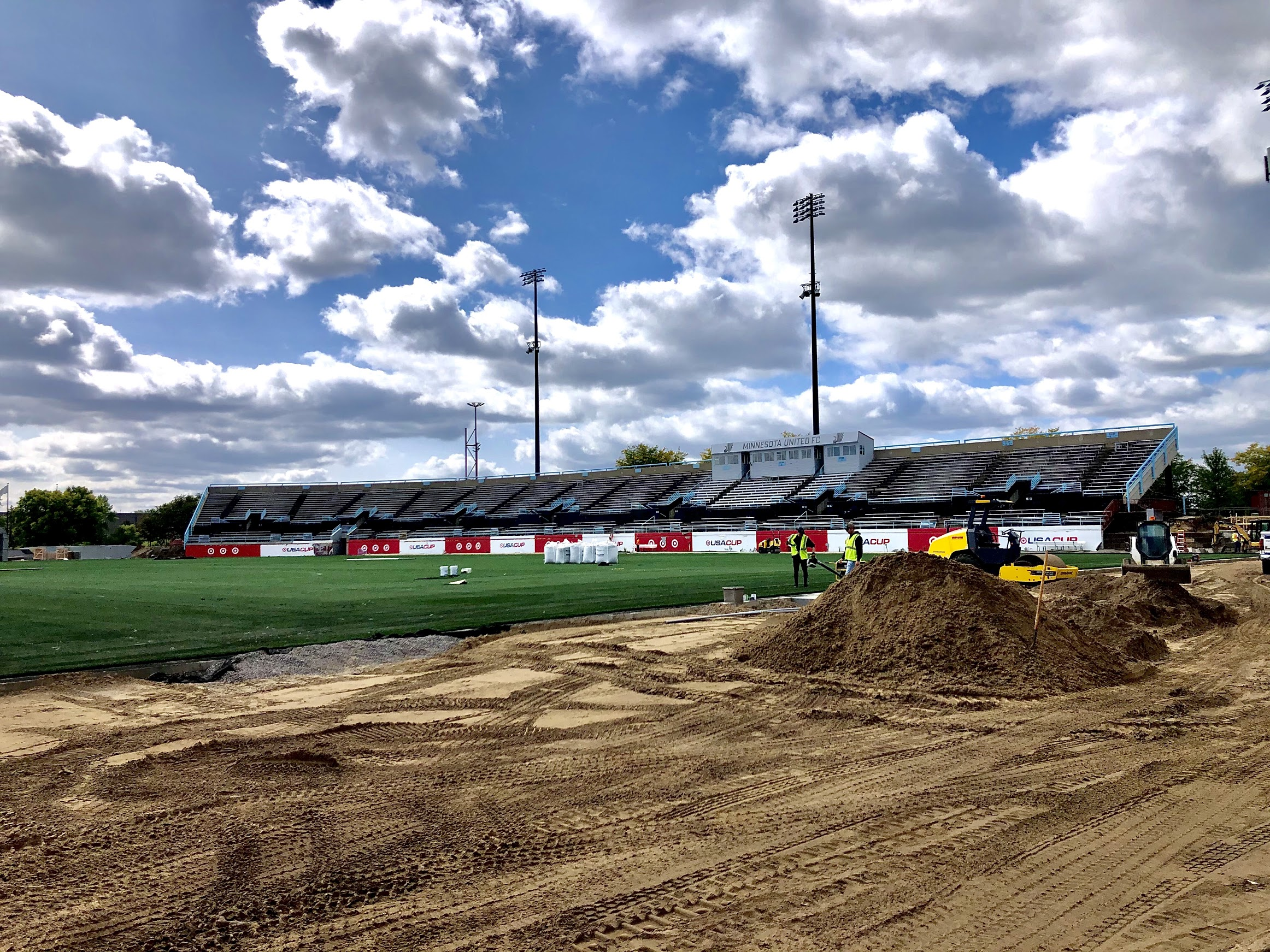 Construction for the new M Health Fairview Dome began on the stadium field.